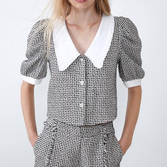 Zara poplin Tweed Top